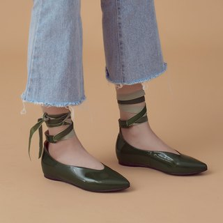 Ballet wraps around! Deep V digging mouth increased pointed shoes olive green MIT full leather