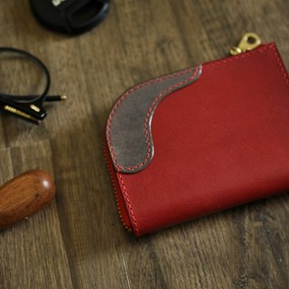 L zipper purse dark red + gray [European vegetable tanning / limited / hand sewn] [17008]
