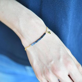 Blue sapphire bracelet enhancing charisma, victory luck, money luck, etc. September birthstone 14 KGF version