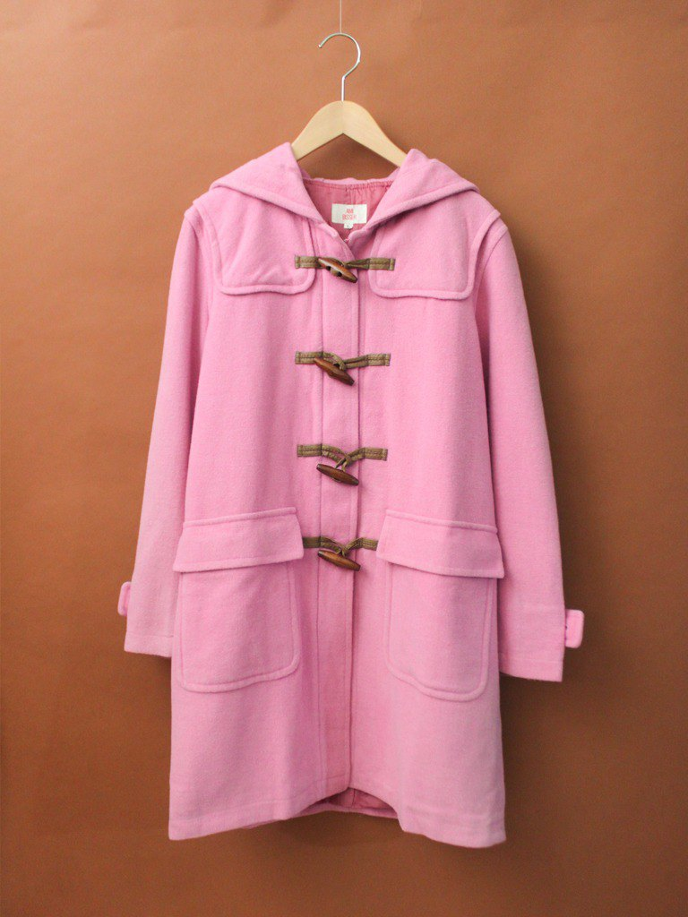Retro autumn and winter cute sweet pink loose hooded vintage horn buckle coat jacket