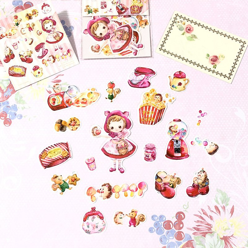 Cute watercolor stickers set - All About the Red