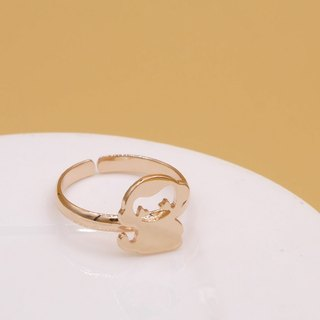 Handmade Little Monkey Ring - Pink gold plated on brass