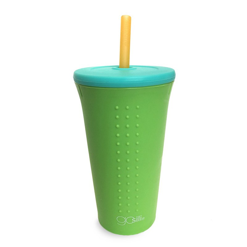 American GoSili Platinum Silicone (16oz) TOGO Straw Cup (Lime Green)