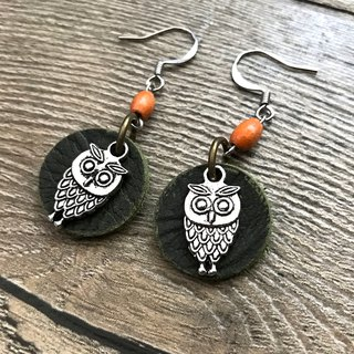 POPO│ Owl │ leather earrings. Dark green │ 2018 the most rammed