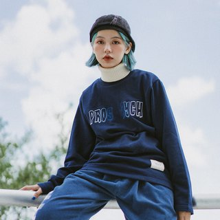 Sea fishing letters embroidered high collar sweater men's Japanese dark blue long sleeve fur collar pullover