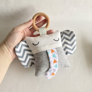 Homycat elephant soft toy rattle with wooden ring