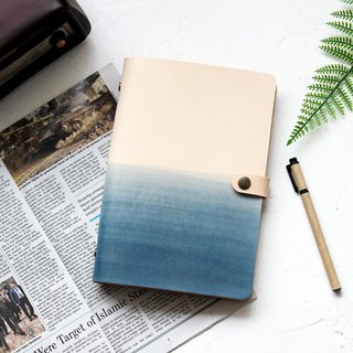 Mountain sea blue white loose-leaf leather notebook hand book hand made notebook customized gift a5 a6 a7