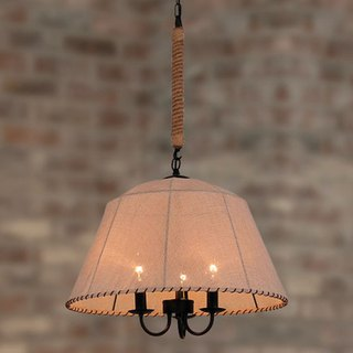 Rustic style cloth shade three lamp chandelier