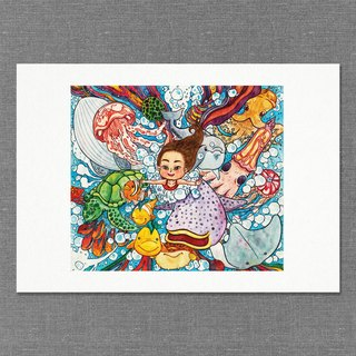 【A4】Hand  draw water colour  printed illustration |  art print | illustration |  wall deco|underwater【The Blue Beer Ocean】