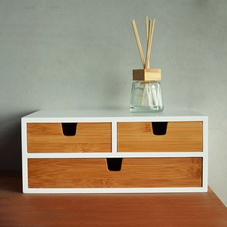 Double storage bamboo and wooden drawer box (1+2)