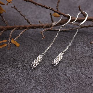 Norfolk Island Pine Leaf 925 Sterling Silver Earrings Nature Plant