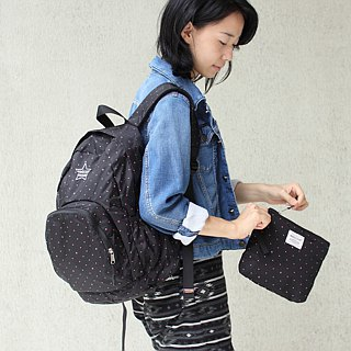 Light-Fold Stars Water Stop Backpack(14'' Laptop OK)-Black_100328-00