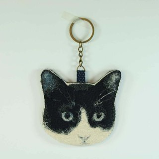 Embroidery black and white cat key ring 04--