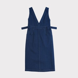 Large V collar cotton denim dress