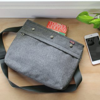 Lightweight carry-on shoulder bag (with dark gray shoulder strap) - hemp gray _100380