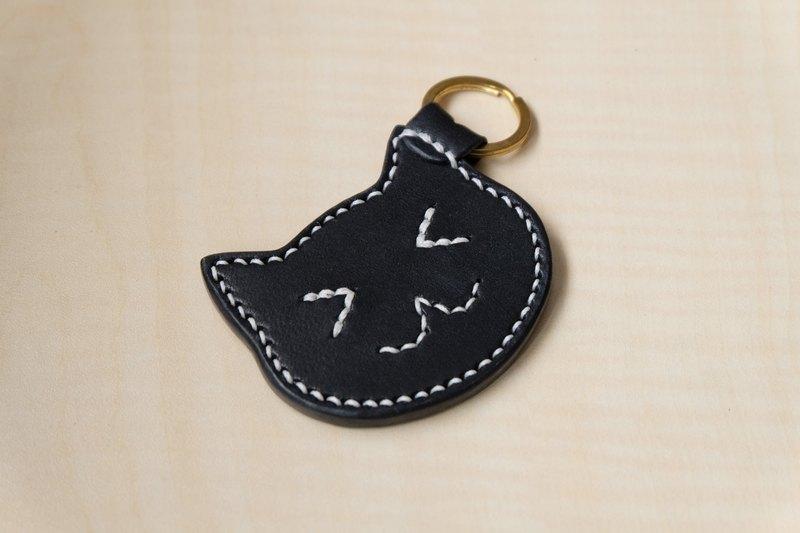 黑色皮革貓咪鑰匙圈 義大利植鞣皮