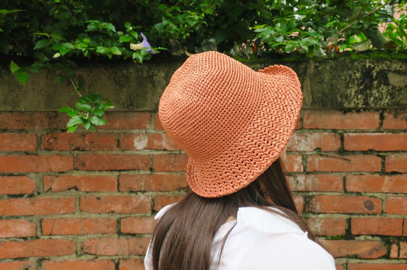 A mother's hand made cap - summer paper rope cap / simple middle cap / retro orange / outing / gift