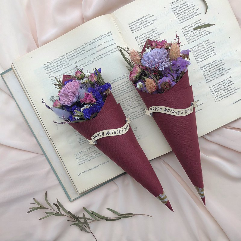Dry flower cone bouquet