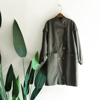 Shizuoka dark green velvet bright structure 澎 sleeve antique thin material windbreaker jacket trenchcoat dustcoat