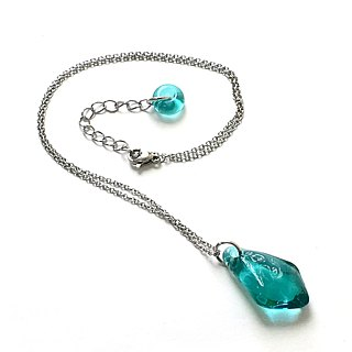 Swing series - Lake blue and green shape glass necklace