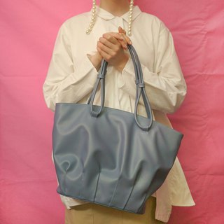 Shell dance | blue pleated shell tote bag large-capacity shopping bag shoulder bag leather top layer cowhide