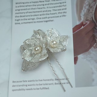 Handmade Bridal Headpiece | Elegant French Beaded Flower Hairpin Hair Accessory