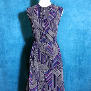 Geometric Totem Chiffon Sleeveless Vintage Dress / Bring back VINTAGE abroad