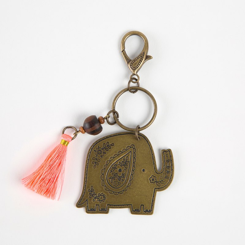 Vintage copper key ring - elephant ∣ KC152