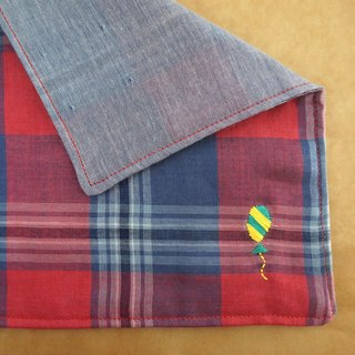 "Hand embroidered quadruple gauze handkerchief ""Ballon 4"""