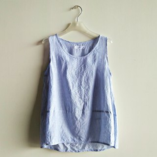Slightly splicing vest linen blue and white mixed color