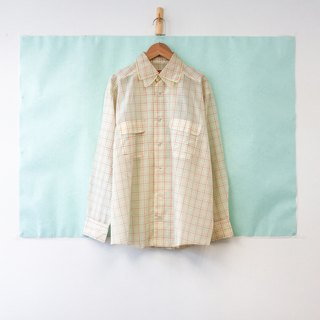 Top / White and Yellow Long-sleeves Checkered Blouse
