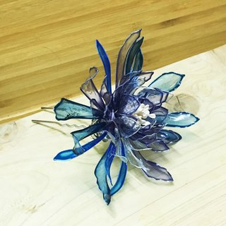 Wan Tianhua {cyanbi Pansy} Japanese crystal plastic flower artificial crystal beads brass accessories hand hairpin hairpin hair comb