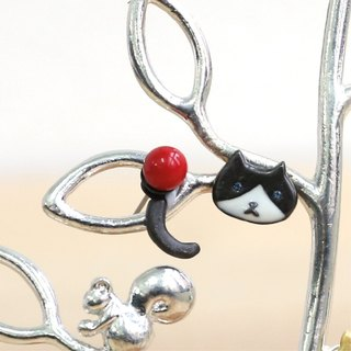 Japanese handmade jewelry - cat big earrings