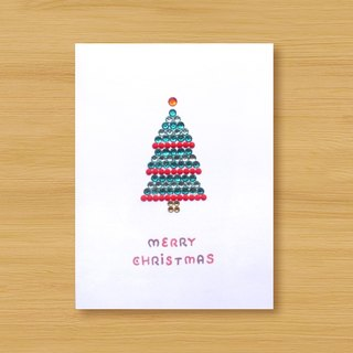 Hand-studded card _ Shiny cake Christmas tree _A