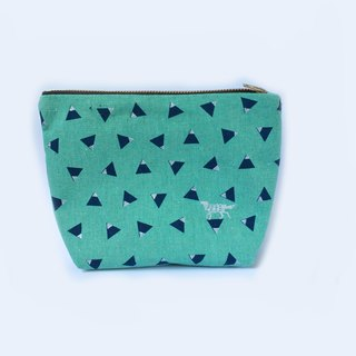 Fox Linen Zipper Pouch, Travel Makeup Bag - Metallic Silver Blue