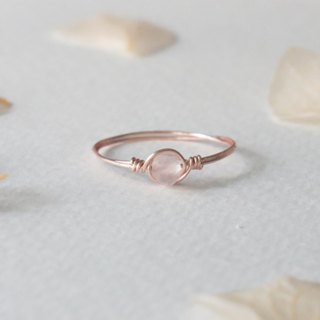 Flower see Yayoi -3.5mm multi-faceted pink crystal rose gold copper wire ring