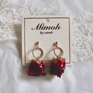 Red Roses Earrings with Golden Hoops