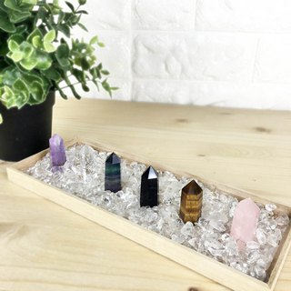 Crystal column - powder crystal yellow tiger eye stone obsidian fluorite white crystal amethyst office device decoration