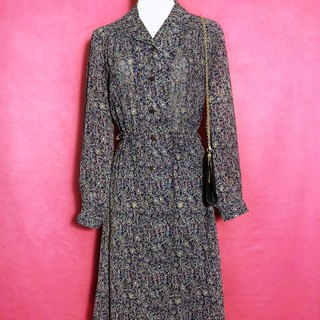 Complex flower totem chiffon long-sleeved vintage dress / abroad brought back VINTAGE