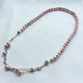 100% Home Design 925 Sterling Silver Pink Freshwater Pearl Necklace Bracelet Dual Purpose