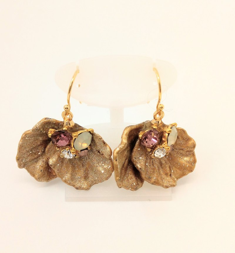 Gold Flower Earrings Free shipping Handmade With box For gift glitter rhinestone