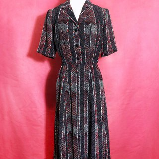 Geometric Totem Short Sleeve Vintage Dress / Foreign Return to VINTAGE