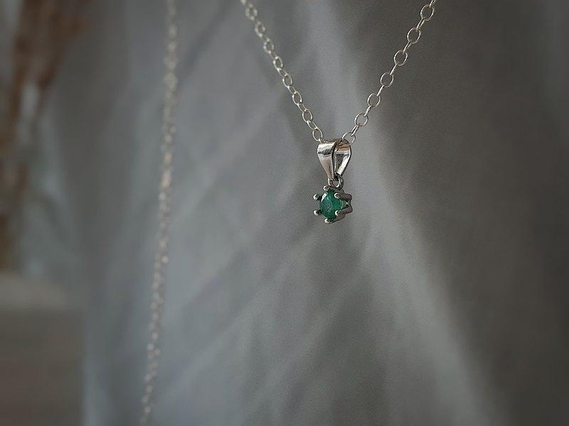 輕珠寶/ 925純銀 AAA單鑽祖母綠爪鑲項鍊 鎖骨鏈 可調長度
