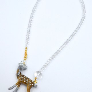 Glass Bead Head Deer Necklace Transparent Glass Bead Necklace Swarovski Crystals