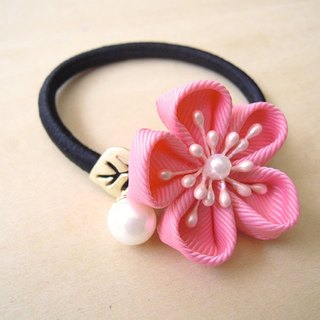 RARAPUPU ribbon flower pearl ring pink