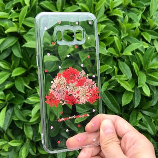 Samsung Galaxy S8 Handmade Pressed Flowers Case Red Tree case 027a