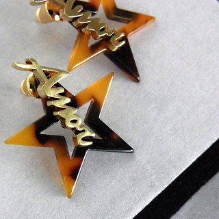 2 WAY tortoiseshell star earrings / brass