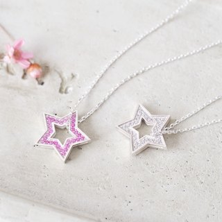 Pink Reversible Star necklace 925 Sterling Silver