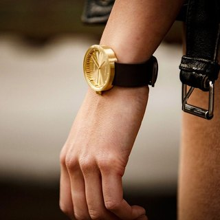 LEFF amsterdam | tube Nordic industrial gear design leather watch (38mm, brass, brown belt)