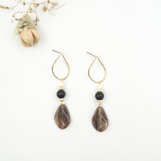 Design section. Black agate pearl temperament leaf steel needle earrings